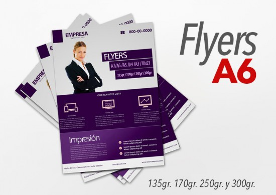Flyers color A6 10x15cm 500 Unidades 2 caras 135gr