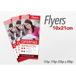 Flyers color 10x21cm 250 Unidades 2 caras 170gr