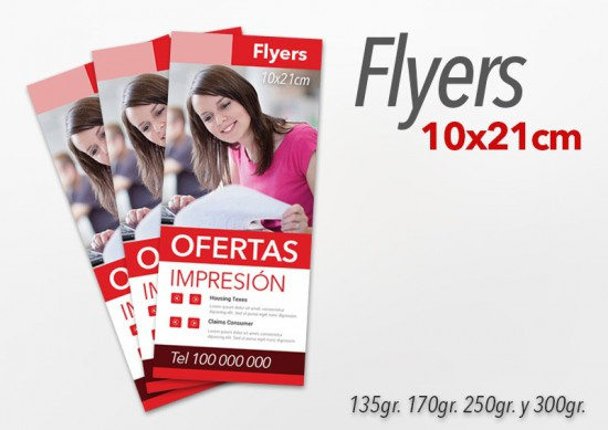 Flyers color 10x21cm 1500 Unidades 2 caras 250gr