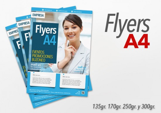 Flyers Color A4 10000 Unidades 2 caras 250gr