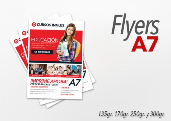 Flyers color 10x7.5cm 500 Unidades 2 caras 250gr